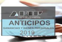 anticipos ganancias y bienes personales 2019