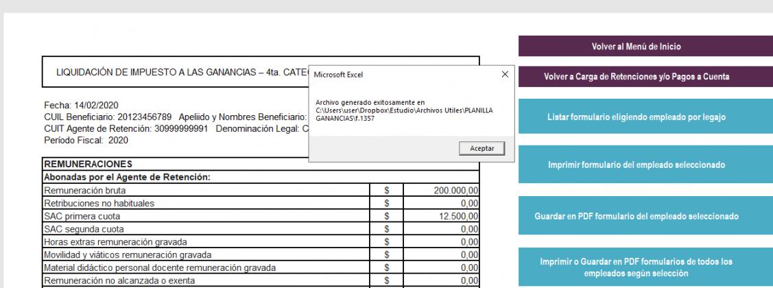 formulario 1357 2020, excel para generar 1357