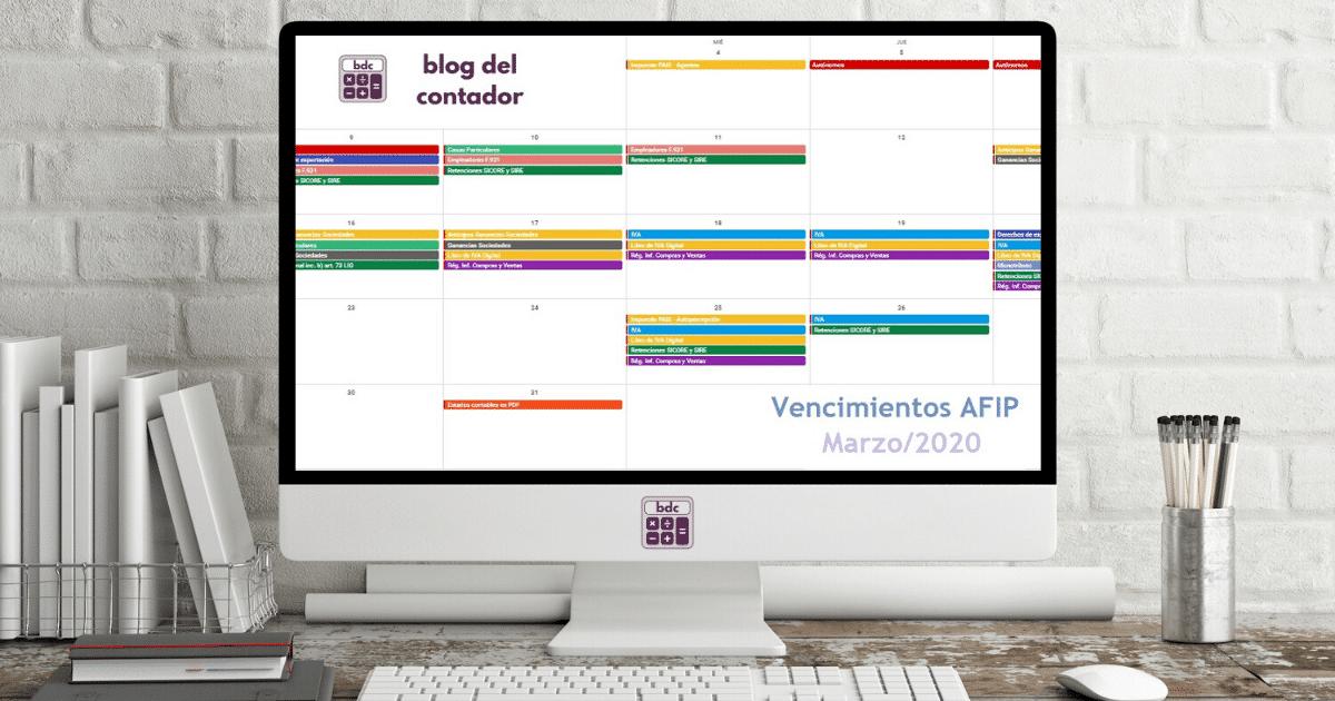 vencimientos afip marzo 2020, vencimientos afip marzo/2020, vencimientos afip, afip, calendario de vencimientos afip