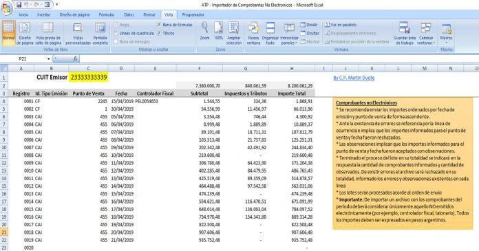 atp importador comprobantes no electronicosPlanilla Excel ATP - Importador de Comprobantes No Electrónicos