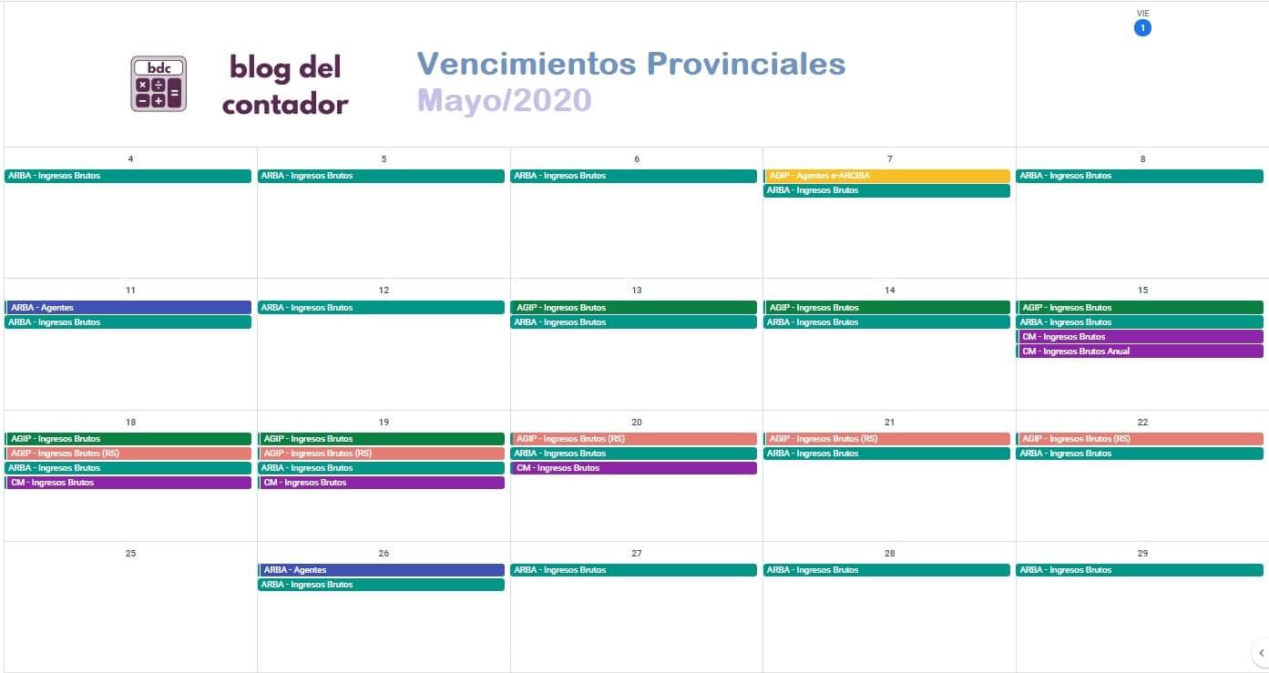 vencimientos provinciales mayo 2020