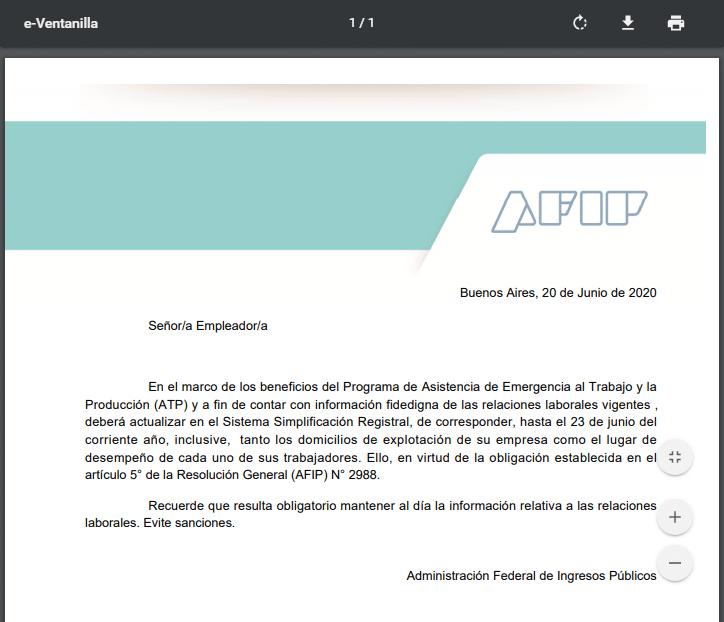 notificacion atp afip